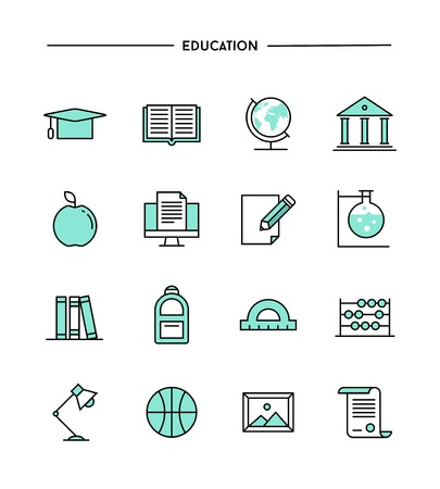 set of flat design, thin line education icons, vector illustration Vectores