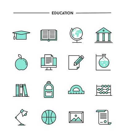 set of flat design, thin line education icons, vector illustration Vettoriali