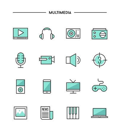 multimedia icons: set of thin line flat multimedia icons, vector illustration Illustration