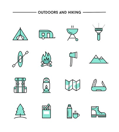 outdoor: set of flat design, thin line hiking and outdoors icons, vector illustration