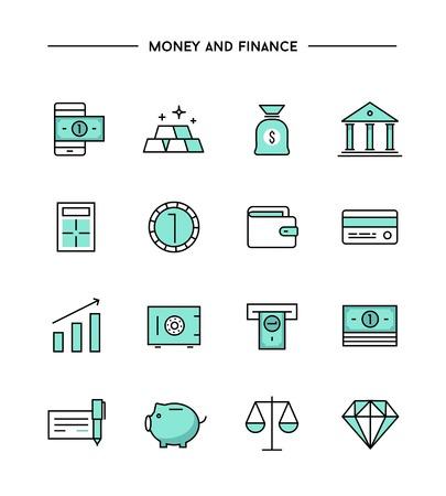 細い線フラットお金・金融アイコン、ベクトル図セット
