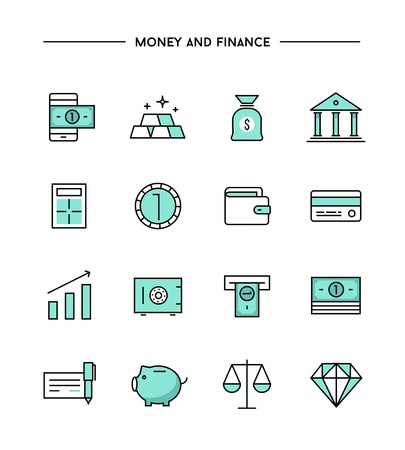 set of thin line flat money and finance icons, vector illustration Illustration