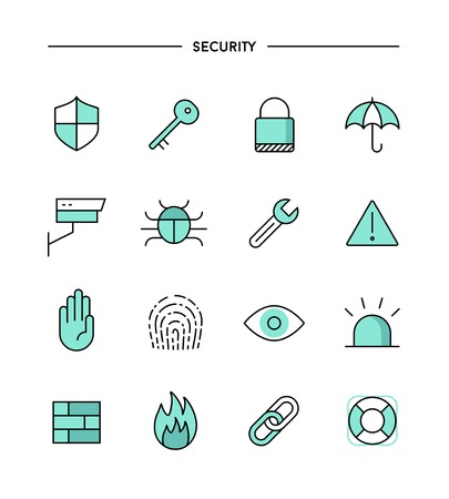 hand and key: set of flat design, thin line security icons, vector illustration