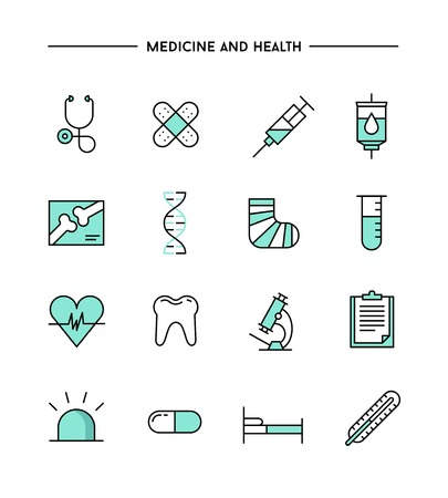 set of flat design, thin line medicine and health icons, vector illustration