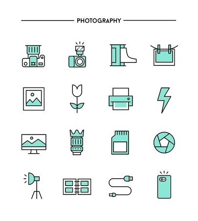 photography icons: set of flat design, thin line photography icons, vector illustration Illustration