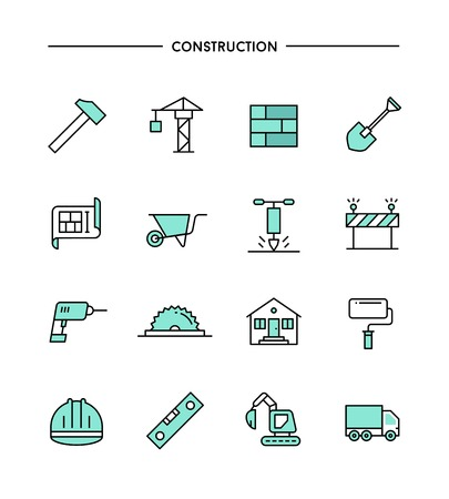 construction plans: set of flat design, thin line construction icons, vector illustration