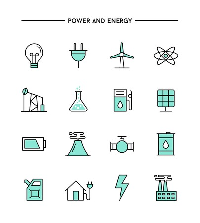 thin bulb: set of flat design, thin line power and energy icons, vector illustration