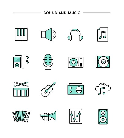 music instruments: set of flat design, thin line sound and music icons, vector illustration