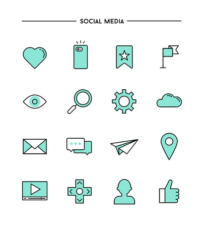 glass heart: set of flat design,thin line social media icons, vector illustration