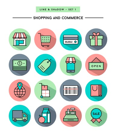simple store: set of flat design,long shadow, thin line shopping and commerce icons Illustration