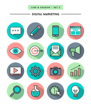 set of flat design,long shadow, thin line digital marketing icons