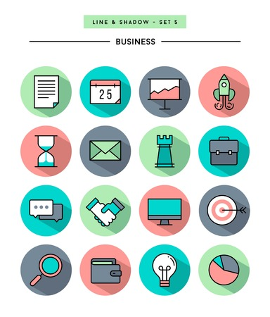 set of flat design,long shadow, thin line business icons Ilustrace