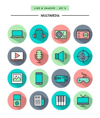 multimedia icons: set of flat design,long shadow, thin line multimedia icons Illustration