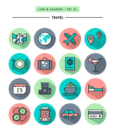 set of flat design,long shadow, thin line travel icon Ilustracja