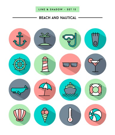 set of flat design,long shadow, thin line beach and nautical icons