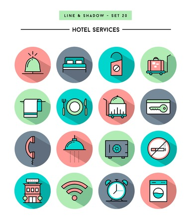 apartment bell: set of flat design,long shadow, thin line hotel services icons