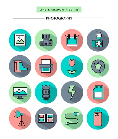 photography icons: set of flat design,long shadow, thin line photography icons