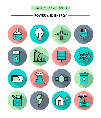 industry icons: set of flat design,long shadow, thin line power and energy icons