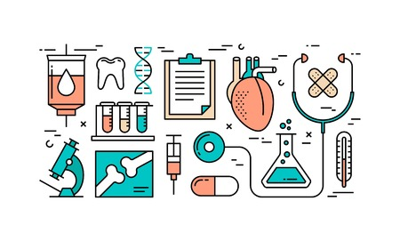 Thin line flat design concept of healthcare and medicine. Stock Illustratie