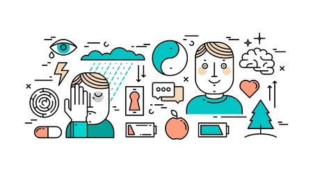 in tears: Línea fina concepto de diseño plano de la salud mental, la depresión y la lucha contra la depresión.