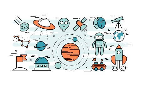 exploration: Thin line flat design concept of space exploration, vector illustration