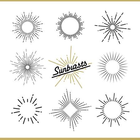 Set of sunburst design elements for badges, logos and labels. Vector illustration Vettoriali