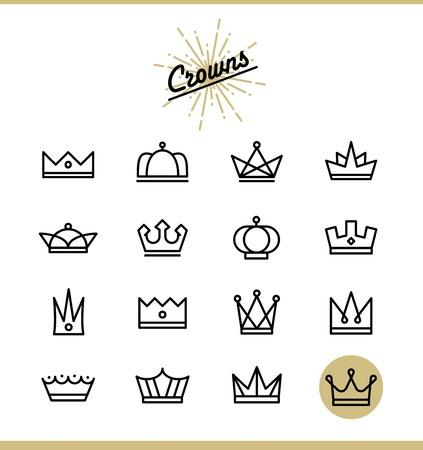 corona rey: Conjunto de iconos de la corona de línea, ilustración