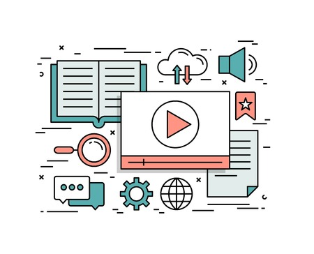 multimedia: Thin line flat design concept of video tutorials, vector illustration