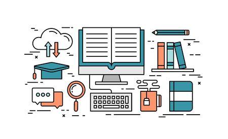 Thin line flat design concept of online education, vector illustration