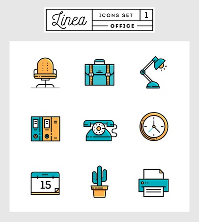 office environment: set of flat design line icons of office elements, vector illustration