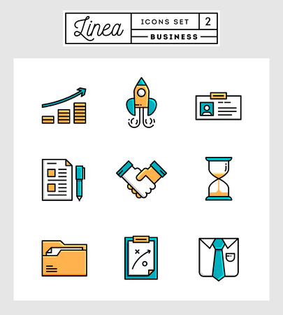 planing: set of flat design line icons of business elements, vector illustration Illustration