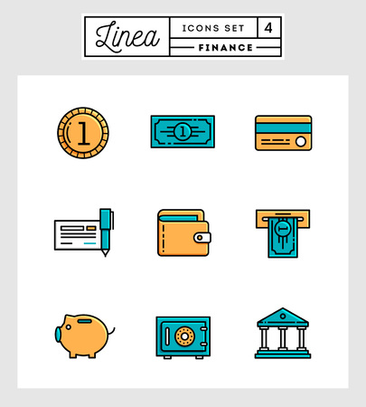 paper currency: set of flat design line icons of finance elements, vector illustration