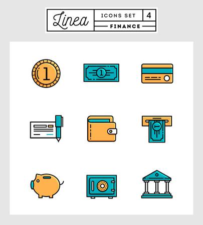 credit card bills: set of flat design line icons of finance elements, vector illustration