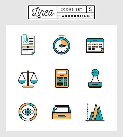 contabilidad: Conjunto de dise�o plana iconos de l�nea delgada de elementos contables, ilustraci�n vectorial