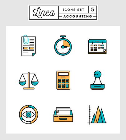 accounting design: Set of flat design thin line icons of accounting elements, vector illustration Illustration