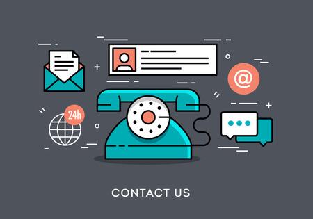 iletişim: Temas düz tasarım ince bir çizgi konsepti afiş, vektör çizim