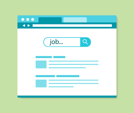 jobs: flat design online job search results, vector illustration Illustration