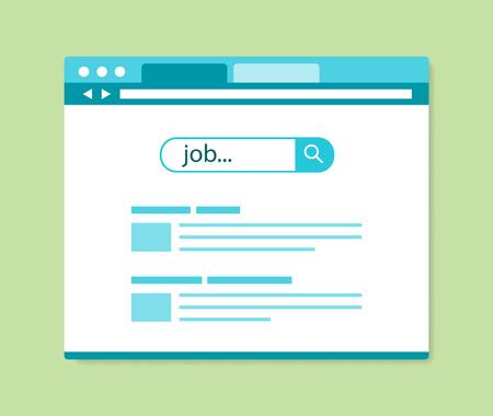 puesto de trabajo: Resultados de búsqueda de empleo en línea de diseño de planos, ilustración vectorial