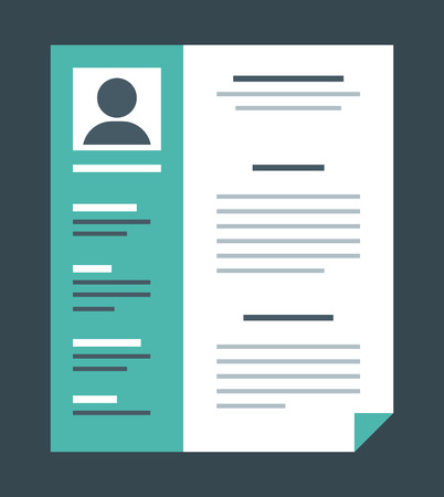 company profile: Flat design style professional resume, vector illustration