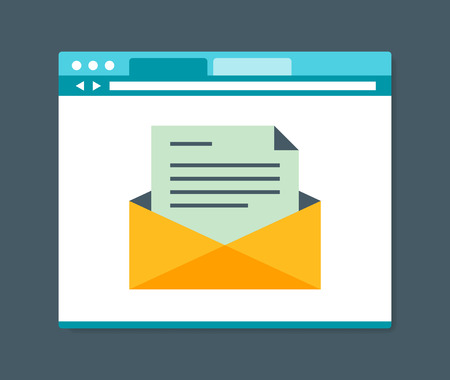 computer device: Flat design style e-mail in internet browser, vector illustration