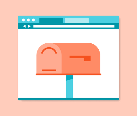internet browser: Flat design style mailbox in internet browser, vector illustration Illustration
