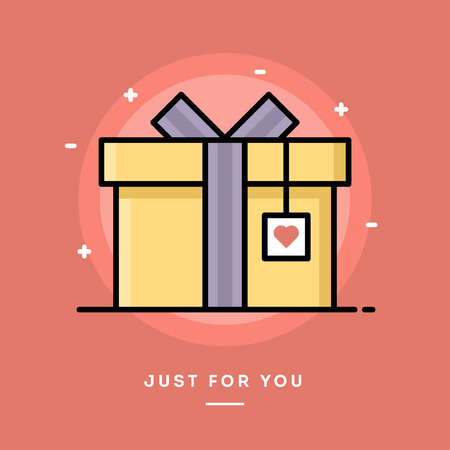 open day: Gift box with heart tag, flat design thin line banner, vector illustration