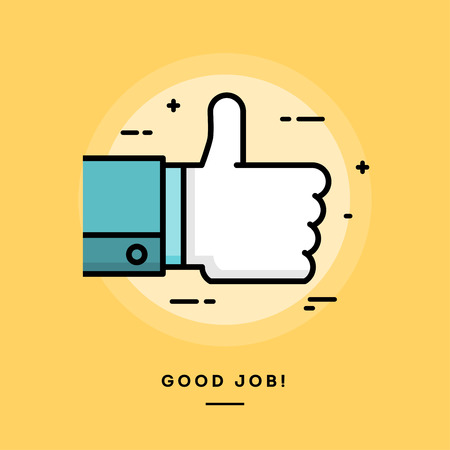 approval icon: Thumbs up, flat design thin line banner, vector illustration