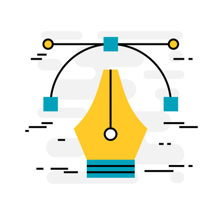 design tools: Flat design thin line concept of designers tools, vector illustration
