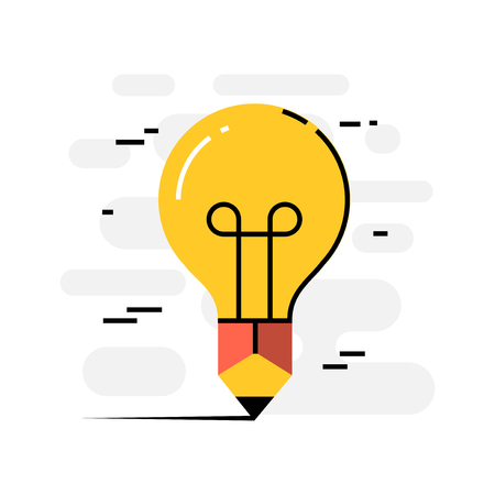 creative writing: Flat design thin line concept of creative writing, vector illustration Illustration
