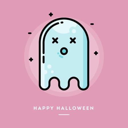 mosca caricatura: Fantasma lindo, línea delgada diseño plano banner de Halloween, ilustración vectorial