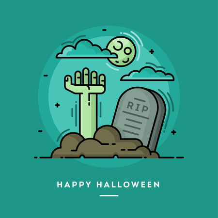 Zombie hand in cemetery, flat design thin line Halloween banner, vector illustration