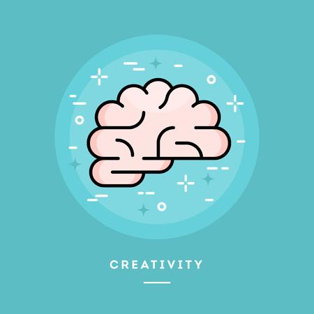 human mind: Brain icon, flat design line style banner, vector illustration