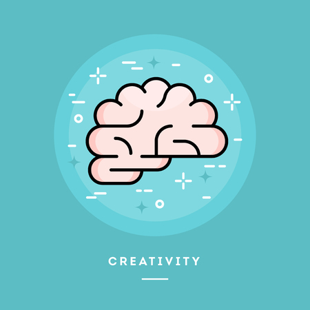 Brain icon, flat design line style banner, vector illustration