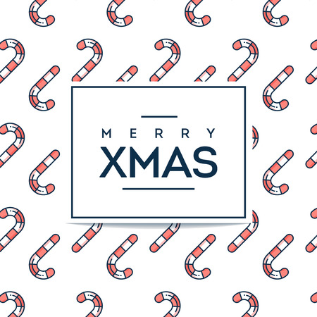 Beautiful minimalistic Merry Xmas card with candy cane seamless pattern, flat design thin line style, vector illustration